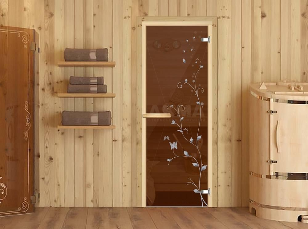 Стеклянные двери для бани и сауны, фурнитура и установка систем в парную