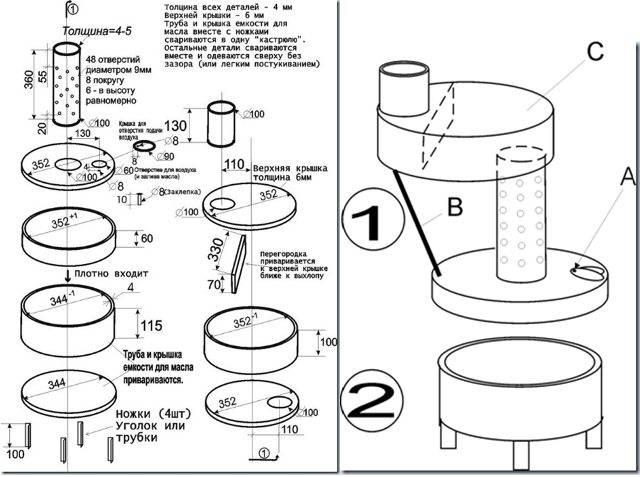 Печь на отработке с наддувом: чертежи, конструкция, принцип работы и изготовление своими руками