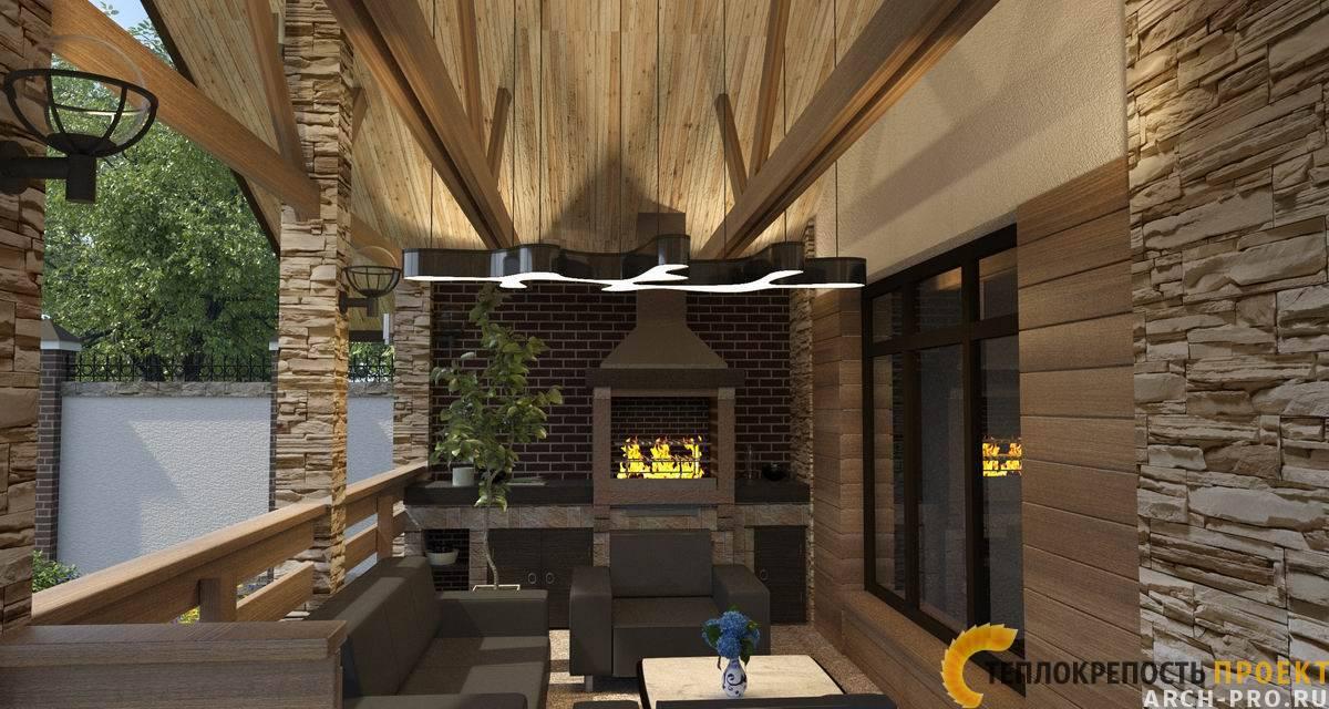 Проект бани с террасой (66 фото): двухэтажное современное строение размером 5х6 с барбекю в зоне отдыха и баня под одной крышей, варианты с открытой угловой верандой
