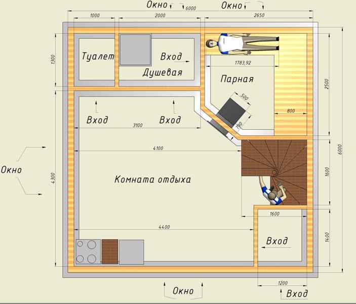 Проект двухэтажной бани из пеноблоков: рассматриваем развернуто