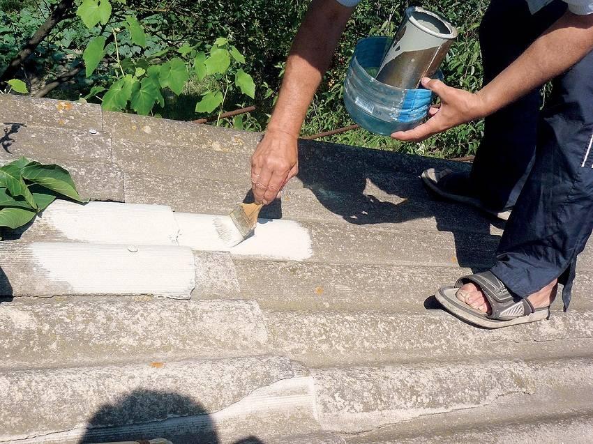 Чем заделать трещину в шифере на крыше или дыру от гфоздей