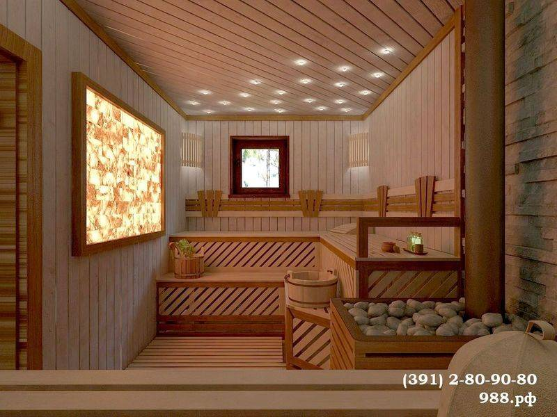 Материалы и стиль оформления интерьера бани