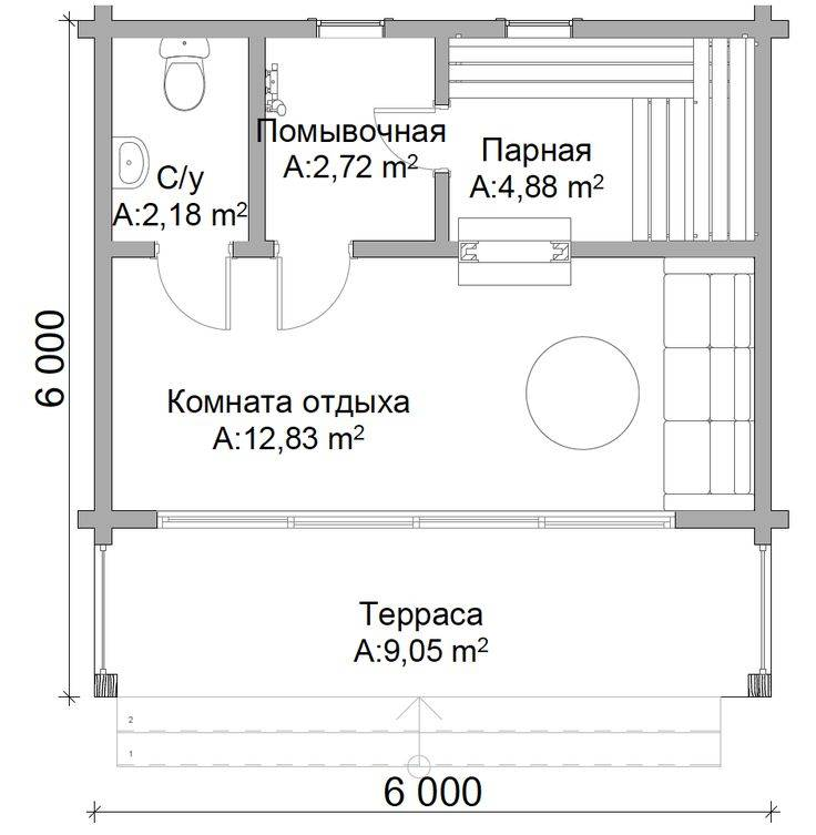 Баня площадью 6х6 м с мансардой: особенности планировки