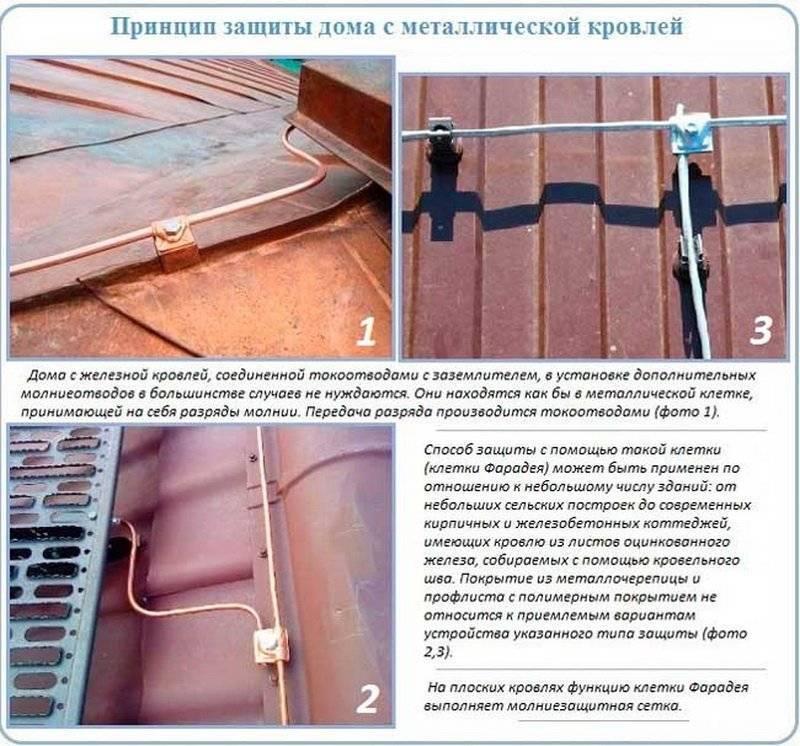 Молниезащита металлической крыши: инструкция + фото