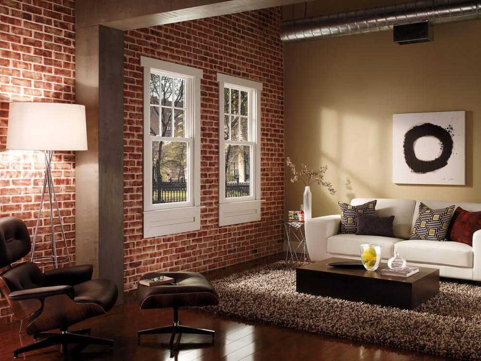 Кирпичная стена в интерьере, с чем сочетается белая стена, искусственный кирпич в кухне