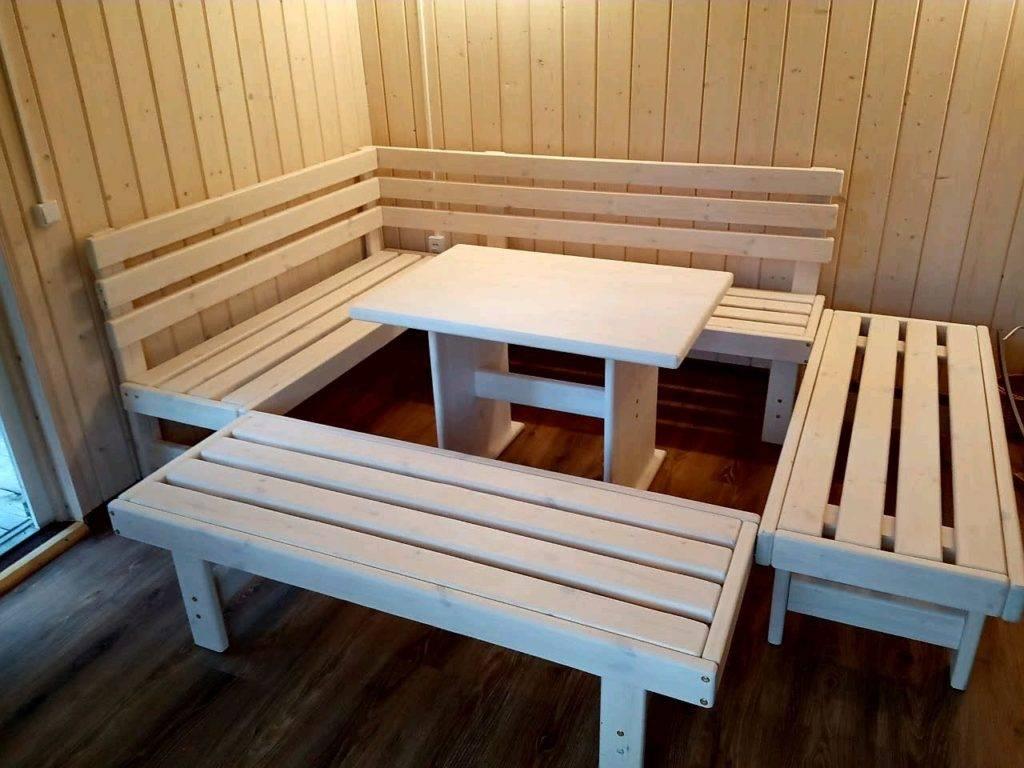 Мебель из дерева для бани: как сделать своими руками, чертежи и схемы сборки, вешалка, стол и стулья