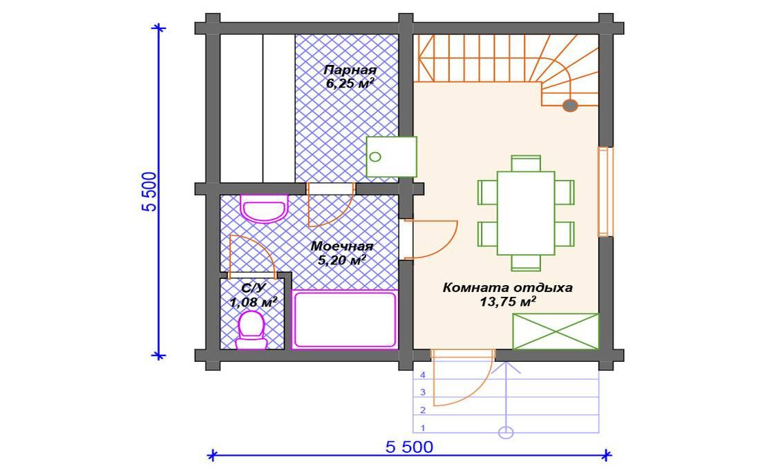 Планировка бани на участке и внутри: размеры парилки, моечной