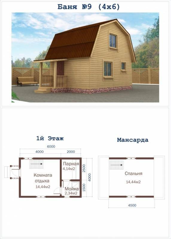 Баня с мансардой: проект и строительство своими руками