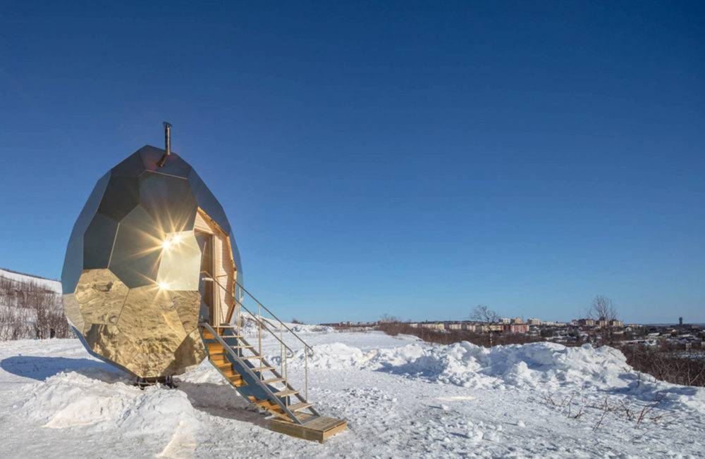 Шведская зеркальная сауна-золотое яйцо - фото и описание