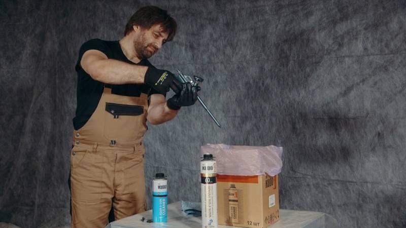 Очистка засохшего пистолета для монтажной пены