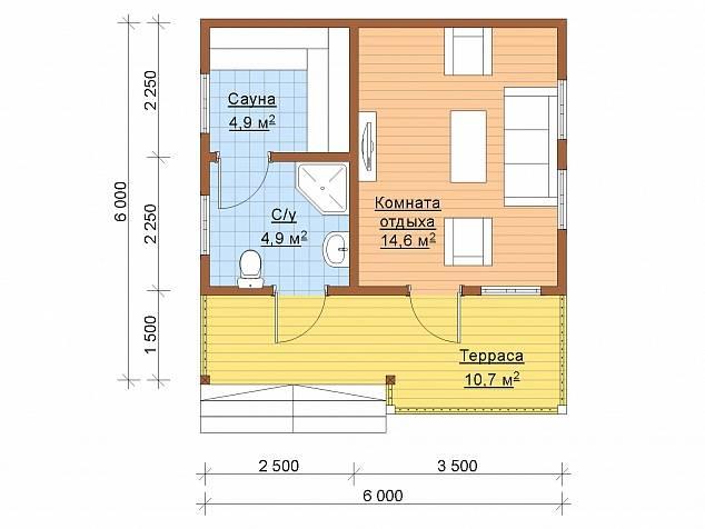 Планировка и интерьер современной комнаты отдыха в бане