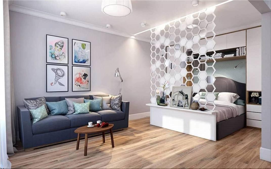 Идеи как разделить комнату на две зоны: спальня и гостиная, ваианты и 35 фото