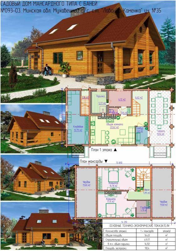 Проект дома с баней под одной крышей: деревянный гостевой дом совмещенный с жилой баней, планировка на фото и видео