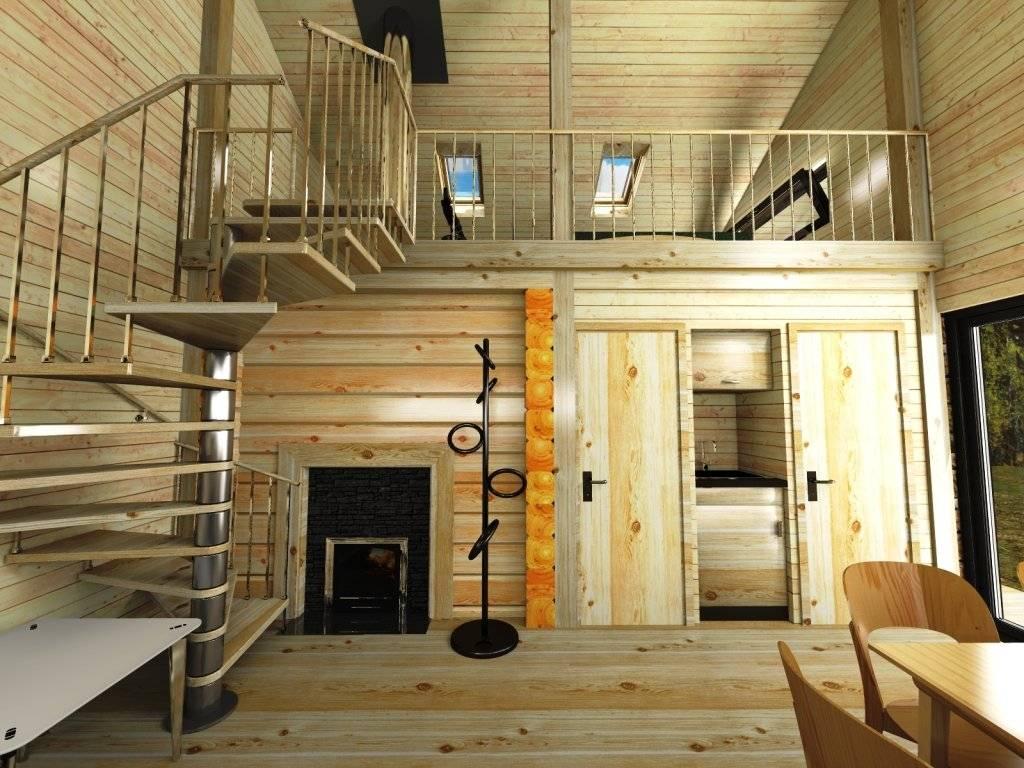 Проекты двухэтажных бань из бруса и бревна: фото, чертежи