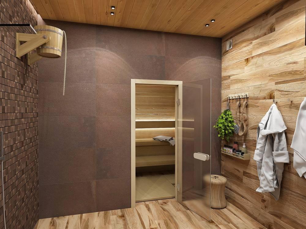 Отделка сауны (63 фото): дизайн интерьера, внутреннее оформление комнаты отдыха камнем, материалы для отделки бани внутри