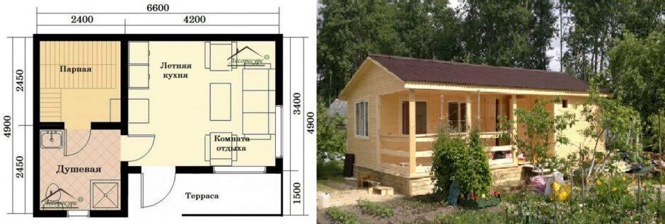 Летняя кухня с баней: проекты, фото, видео