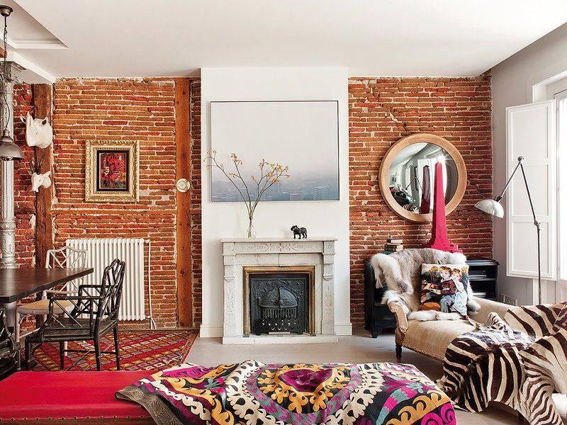 Кирпичная стена в интерьере: 260+ (фото) сочетания. как сделать?