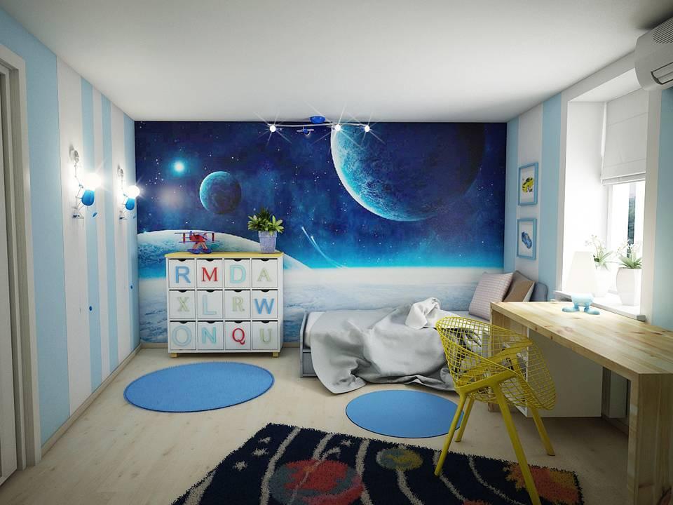 Обои «Космос» в интерьере детской: нереальная красота