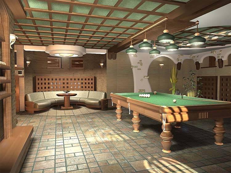 Бильярдная комната в частном доме: особенности устройства и дизайна