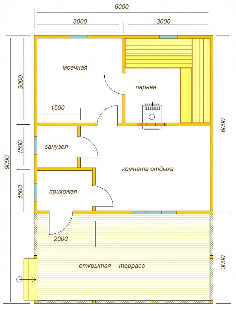 Принципы строительства и отделки бани с террасой