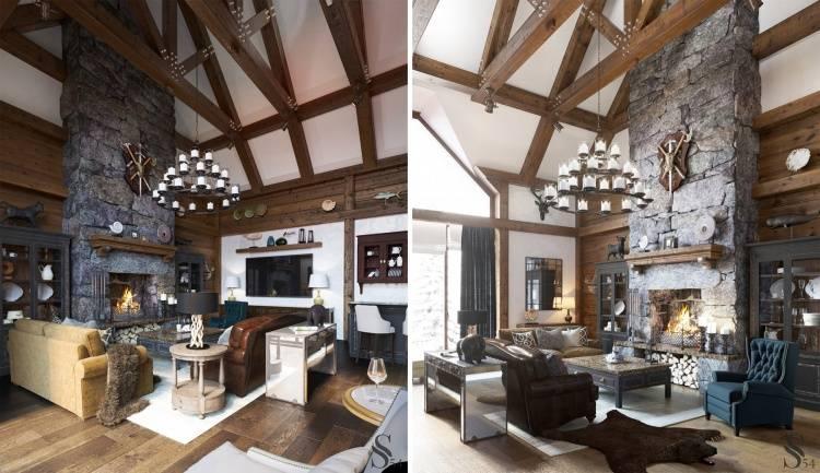 Гостиная в стиле шале: тонкости оформления в альпийском стиле