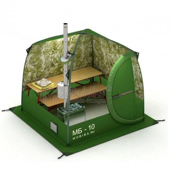 Плюсы и минусы бани-палатки с печкой