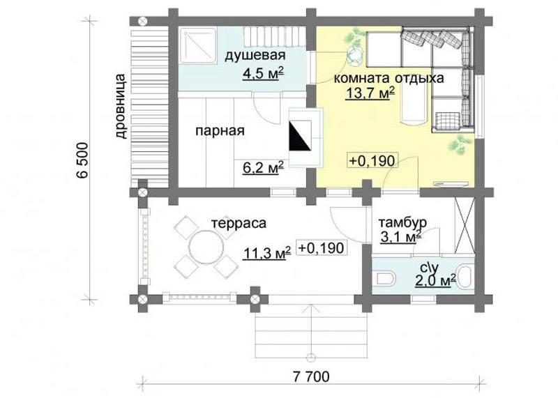 Как выбирать проекты бани с комнатой отдыха и террасой для загородного участка?