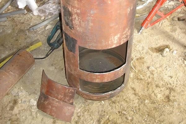 Печь-буржуйка из газового баллона своими руками