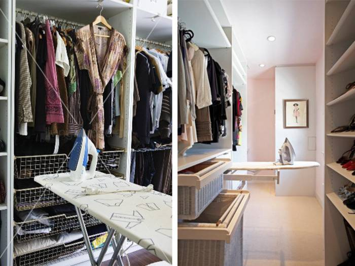 Встраиваемая гладильная доска: в шкаф, зеркало, откидные - 57 фото