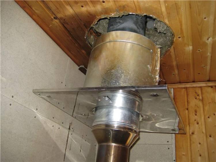 Монтаж дымохода в бане из сэндвич труб своими руками: рассмотрим варианты установки через стену и через потолок