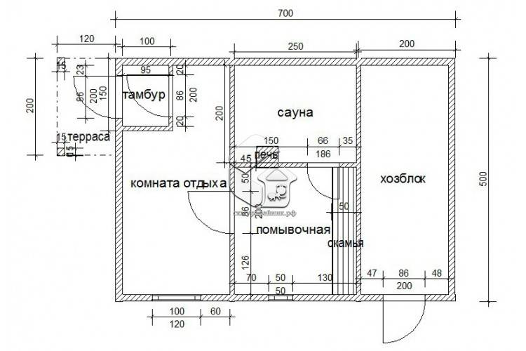 Проект бани с хозблоком под одной крышей: как совместить баню с хозблоком