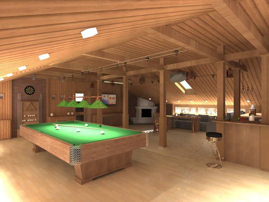 Проект бани с бассейном под одной крышей с комнатой отдыха и бильярдом