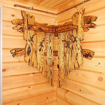 Вешалка в баню из дерева своими руками