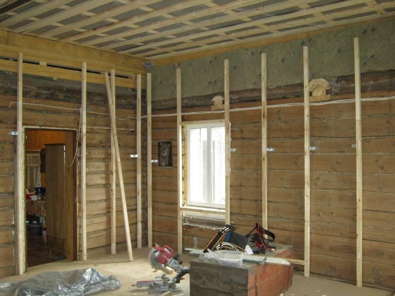 Отделываем стены и потолки деревянного дома гипсокартоном