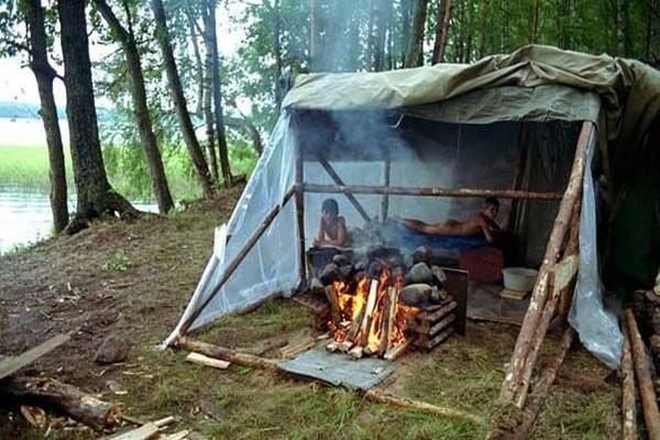 Походная баня из палатки и полиэтилена: делаем своими руками