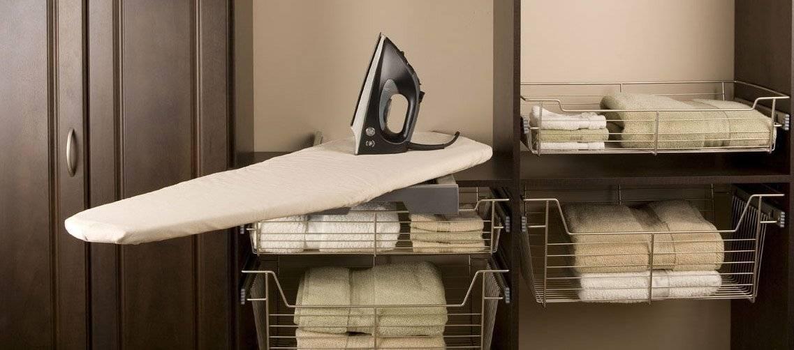 Гладильная доска в шкафу: 3 вида конструкций, материалы, выбор