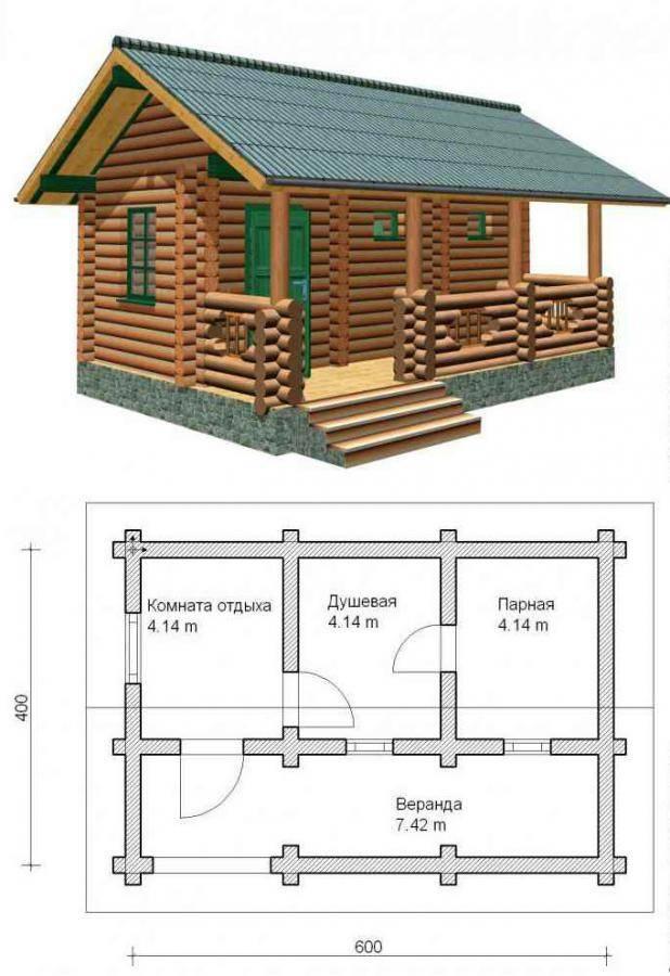 Проект бани с террасой под одной крышей