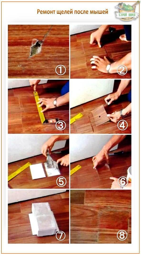 Чем и как заделать щели в полу между досками: опилки, клей, цемент, клин, герметик, пена, шпатлёвка