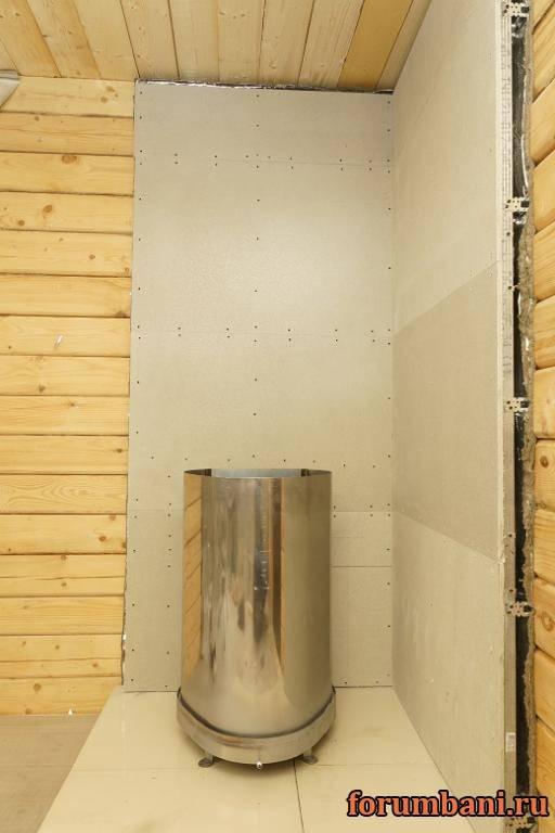Чем отделать стену возле печки в бане