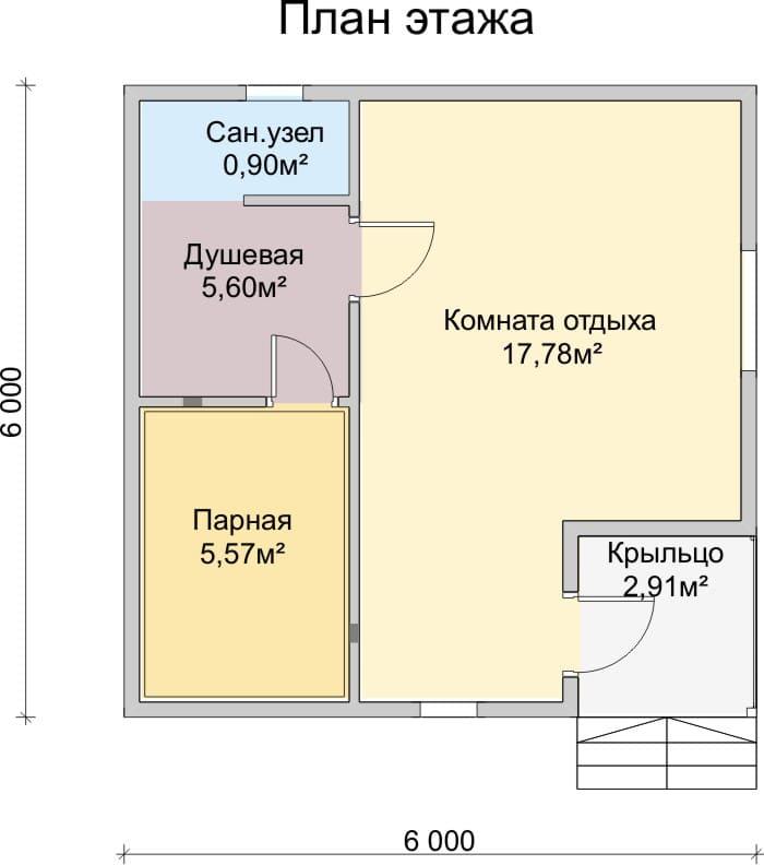 Проект бани 6х4: обзор материалов для бани и примерных планировочных решений, рекомендации по строительству