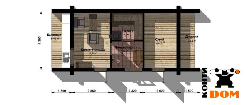 Проекты бань: гараж под одной крышей с хозблоком и парной
