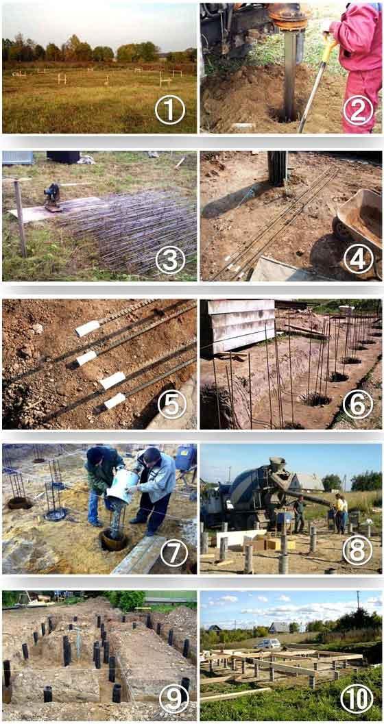 Рекомендации специалистов, как сделать буронабивные, винтовые и деревянные сваи для фундамента своими руками