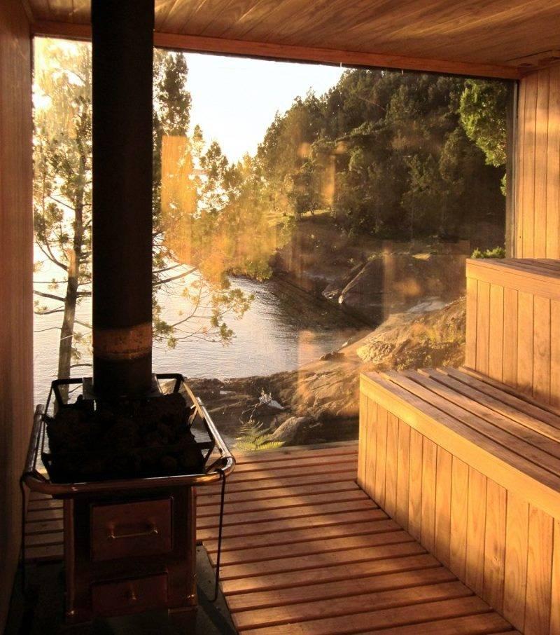 Баня с панорамными окнами: варианты планировки