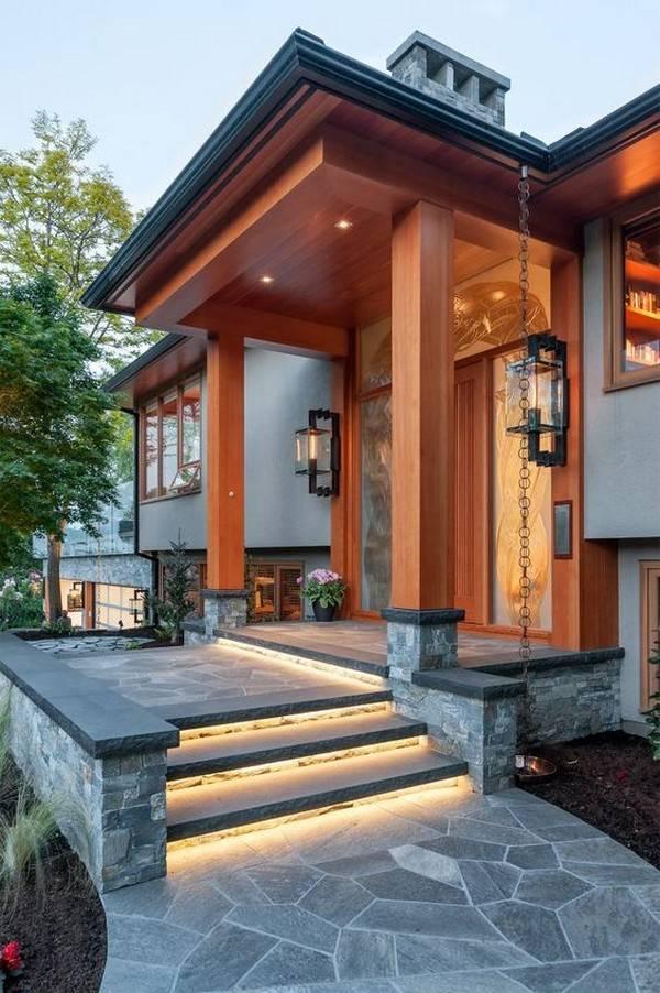 Стильные решения для оформления крыльца частного дома