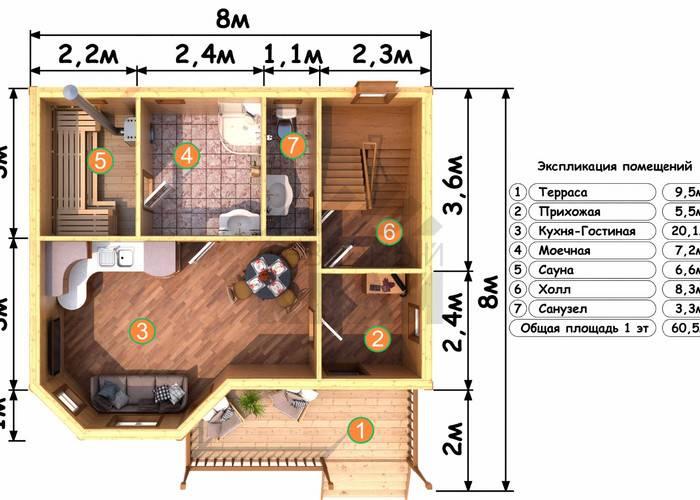 Планировки бань с комнатой отдыха: план с верандой и бассейном, с туалетом и душевой, схемы и примеры в интерьере