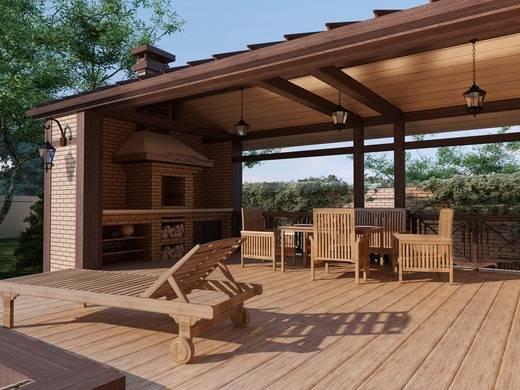 Проекты бань с беседкой под одной крышей, гараж с баней, зоной барбекю и летней кухней