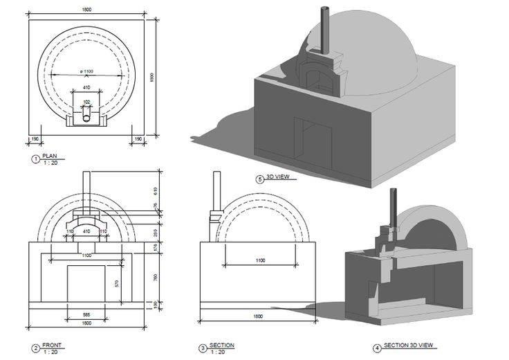 Помпейская печь своими руками: чертежи, схемы и размеры для строительства из глины неаполитанской печи на дровах для пиццы